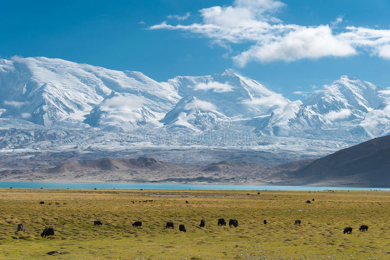 XINJIANG, CHINA - May 21 2015: Karakul Lake. a famous landscape royalty free stock photos