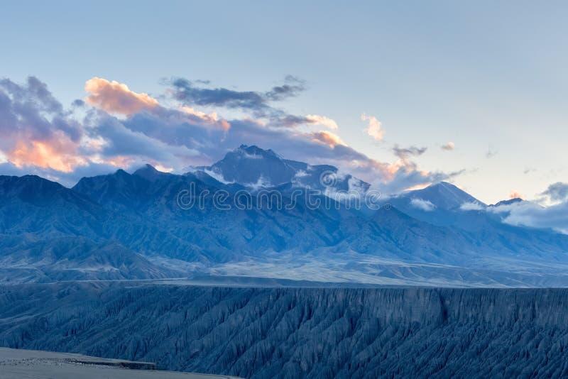 Xinjiang kuitun grand canyon at dusk stock images