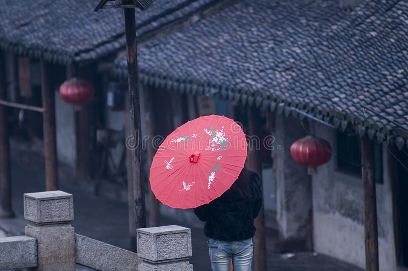Xitang,an ancient town with traditional chinese umbrell stock photography