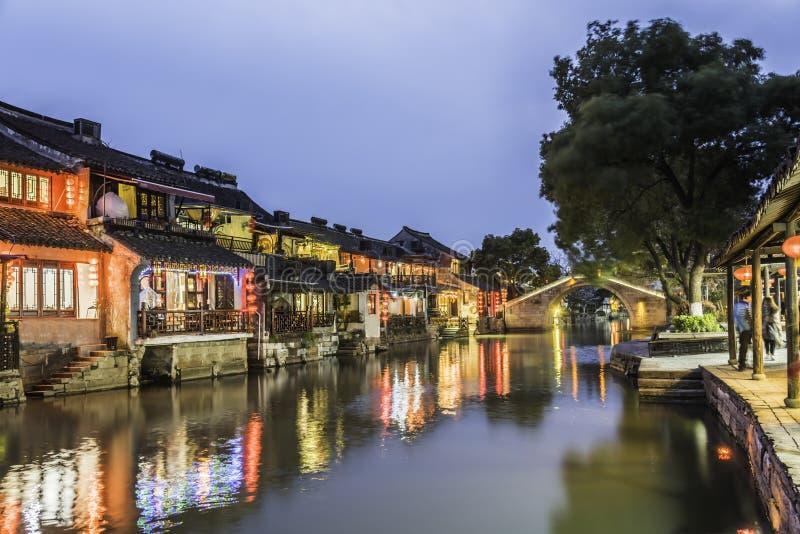 Xitang forntida Watertown landskap på natten fotografering för bildbyråer