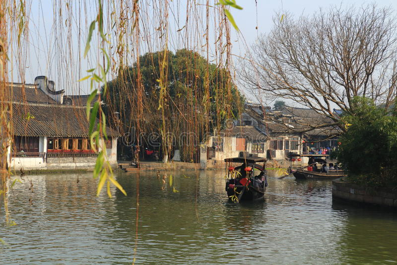 Xitang wody wioska przy jesienią zdjęcie stock
