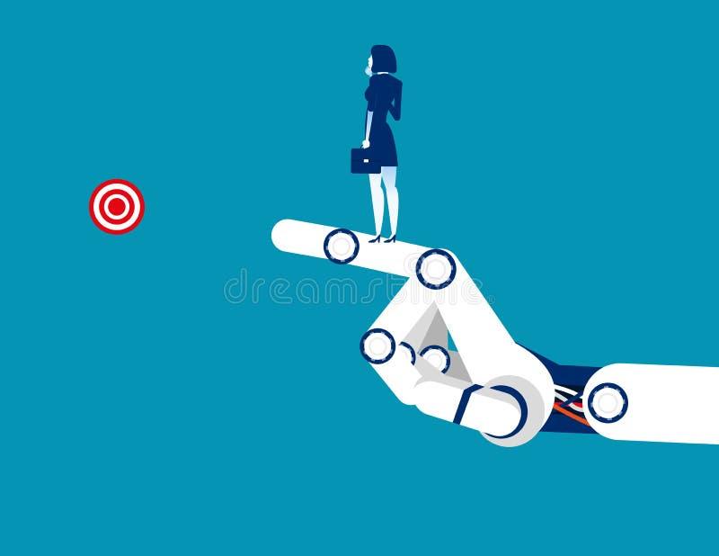 ?xito de la tecnolog?a Situación de la empresaria en el brazo mecánico Ejemplo del vector del negocio del concepto Carácter plano ilustración del vector