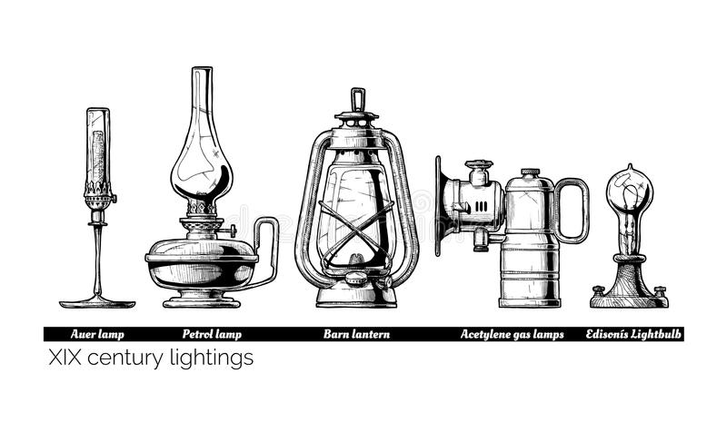XIX century lightings stock illustration