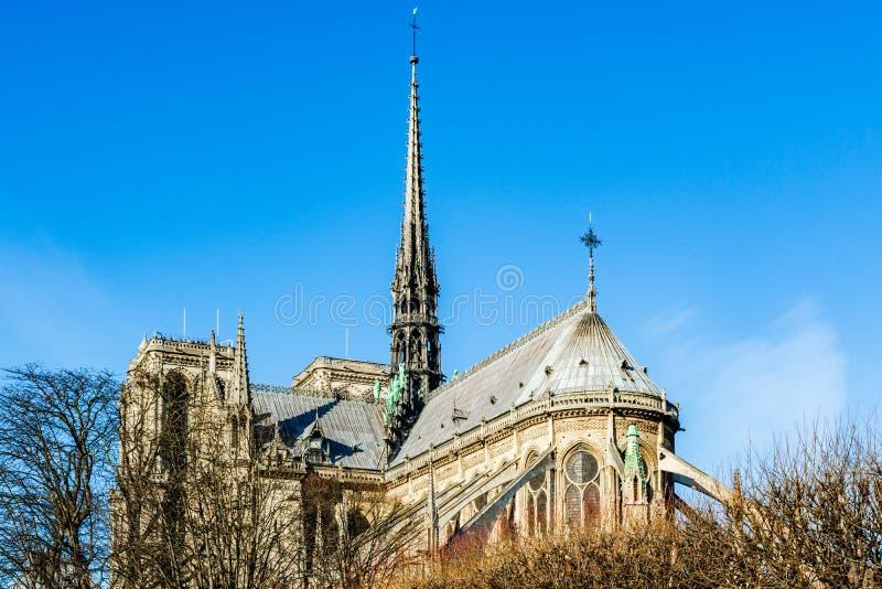 XIX wiek iglica Paryska Notre Damae katedra Eugene le robić dąb zakrywający z prowadzeniem, zniszczonym w zdjęcia royalty free