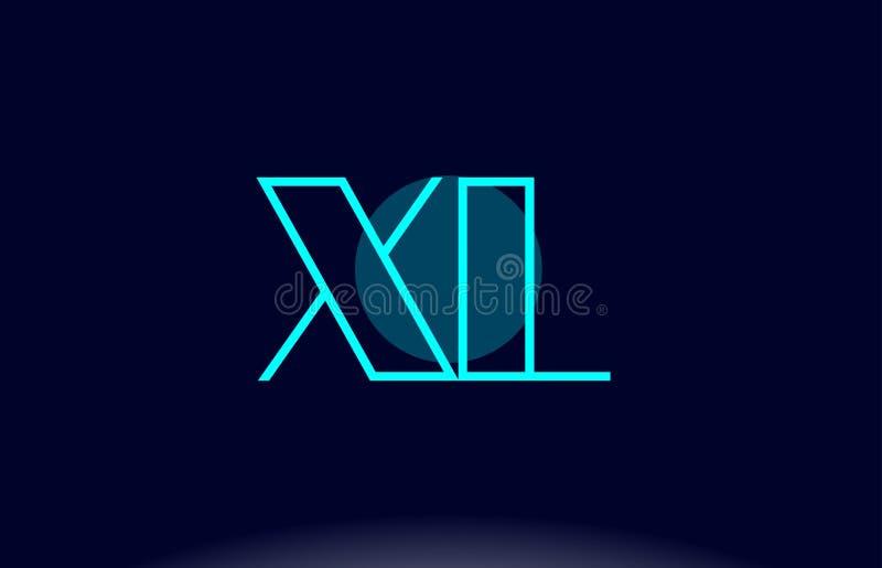 XL x L blaue Linie Kreisalphabetbuchstabelogoikonen-Schablone vecto stock abbildung