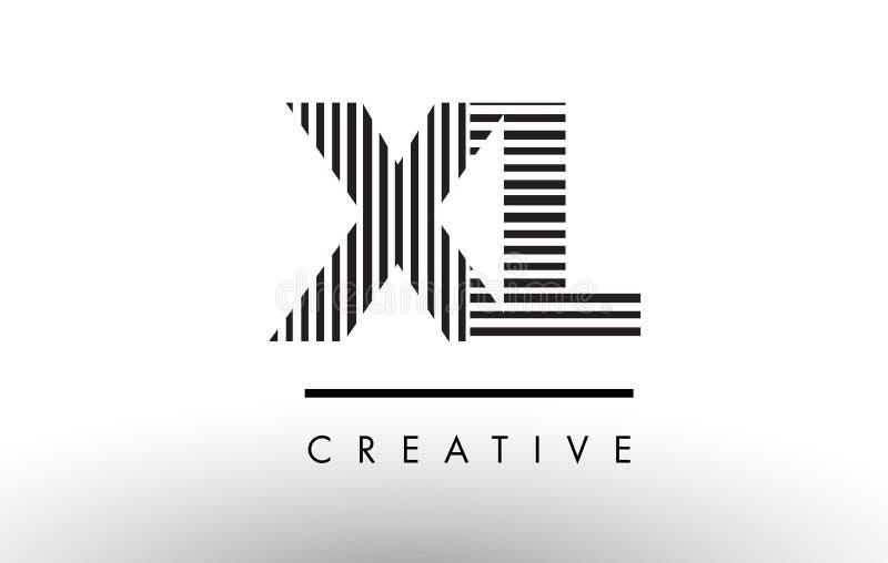 XL x L Schwarzweiss-Linien Buchstabe Logo Design vektor abbildung