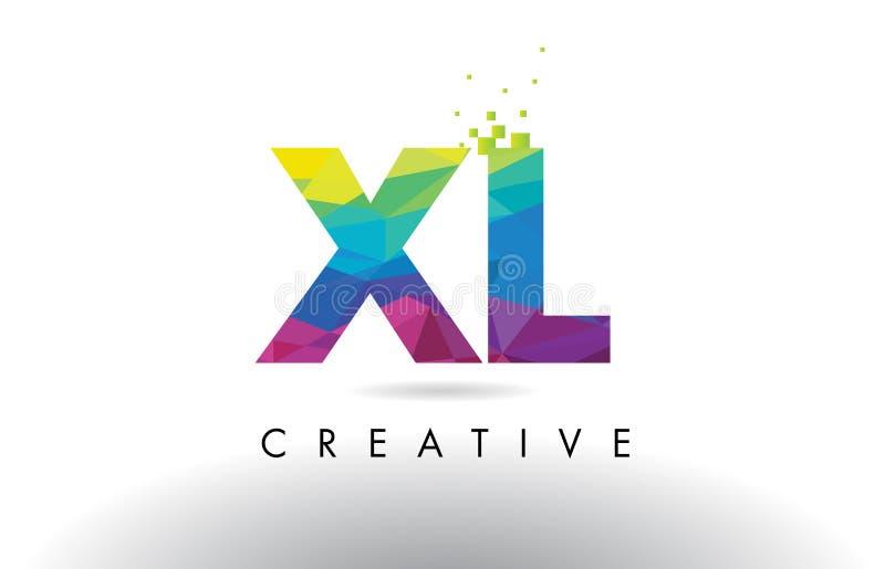 XL x L vecteur coloré de conception de triangles d'origami de lettre illustration stock