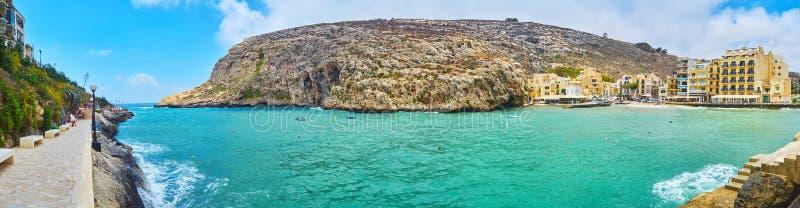 Xlendi,戈佐岛,马耳他全景  免版税图库摄影
