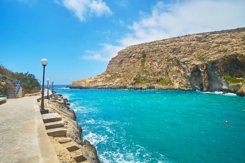 Xlendi,戈佐岛,马耳他风景  免版税库存图片