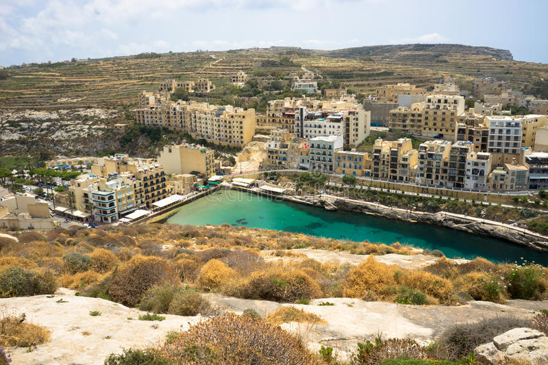 Xlendi. Is a village in Malta situated in the south west of the island of Gozo. It is surrounded by the villages of Munxar, Fontana and Ker stock image