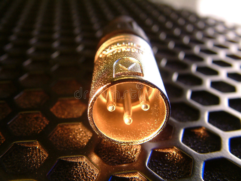 Download XLR Plug On Speaker Grill Royalty Free Stock Image - Image: 1800946