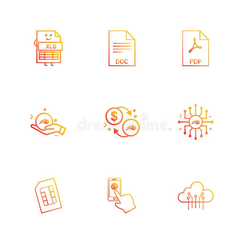 xls, Doc., PDF, dollar, puce, sim, nuage, mobile, 9 ENV IC illustration stock