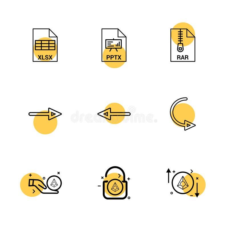 Xlsx , excel , pptx , power point , rar , compressed file , lef. T arrow , right arrow , reset , lock, unlock , diamond , icon, vector, design, flat, collection royalty free illustration