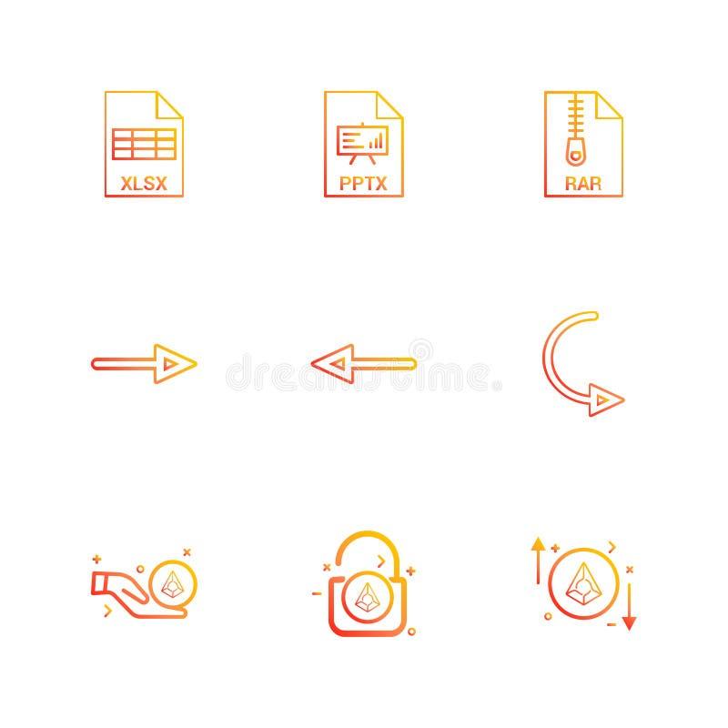 Xlsx , excel , pptx , power point , rar , compressed file , lef. T arrow , right arrow , reset , lock, unlock , diamond , icon, vector, design, flat, collection vector illustration