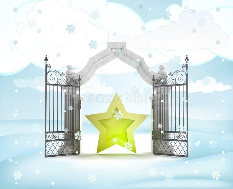 Xmas与金黄星的门入口在冬天降雪 库存例证