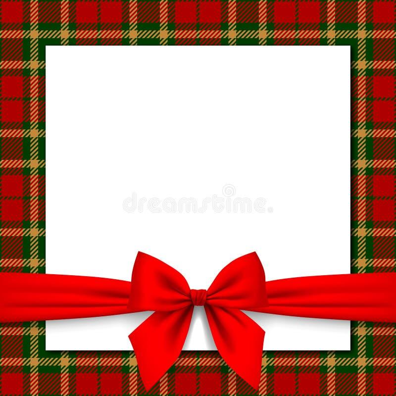 Xmas和新年与红色丝带和格子呢backg的贺卡 皇族释放例证