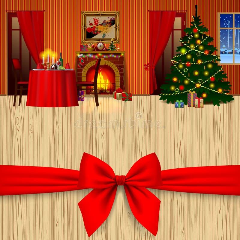 Xmas和新年贺卡与相互一个红色的弓和的假日 库存例证