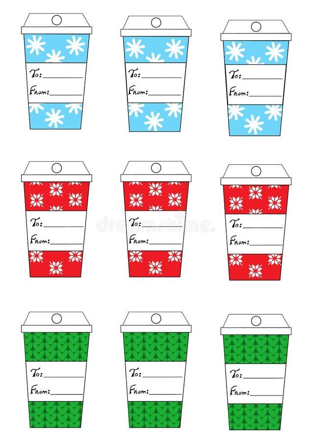 Xmas圣诞节新年节日礼物标记设置了九个礼物标记咖啡杯 库存例证
