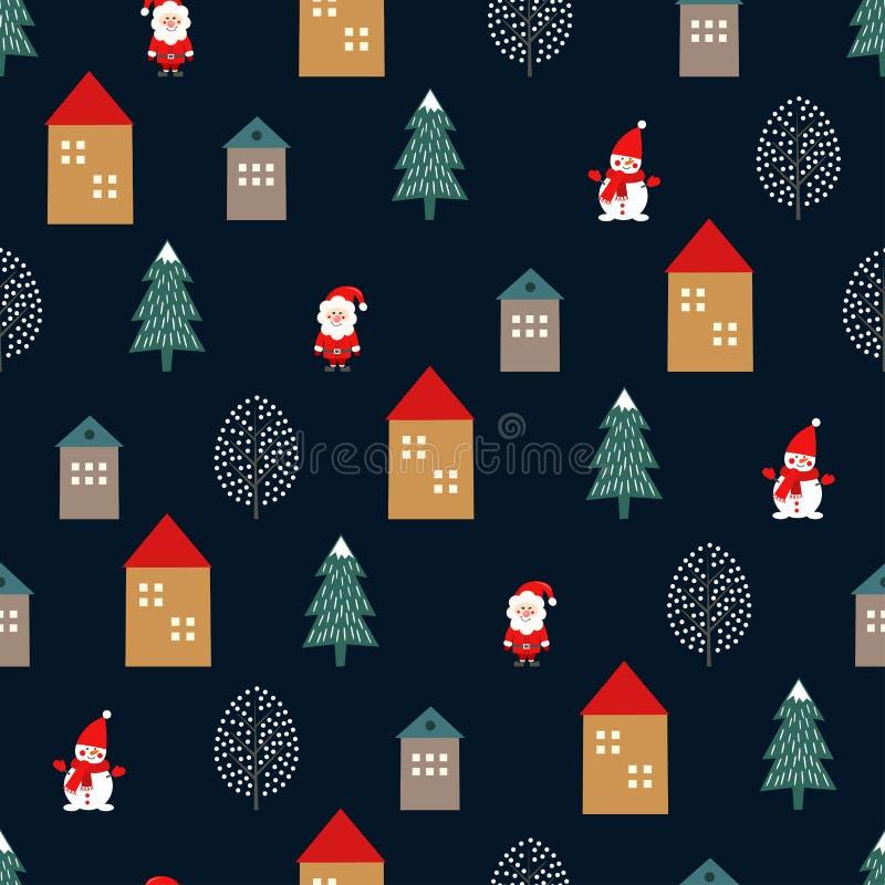 Xmas树、圣诞老人、房子和逗人喜爱的雪人无缝的样式在深蓝背景 皇族释放例证