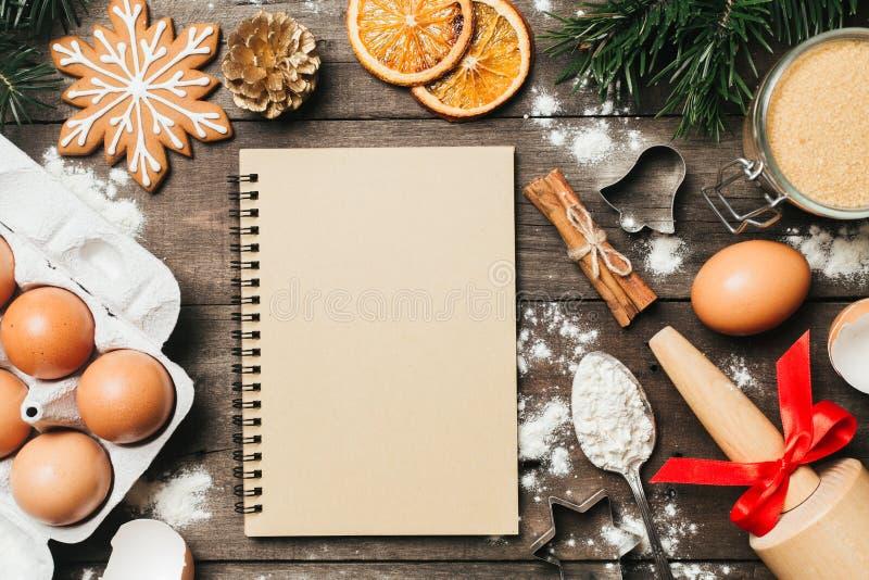 Xmas烘烤或烹调背景 文本空间,顶视图 免版税库存图片
