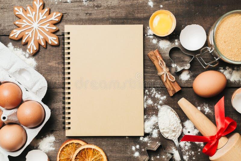 Xmas烘烤或烹调背景 文本空间,顶视图 库存图片