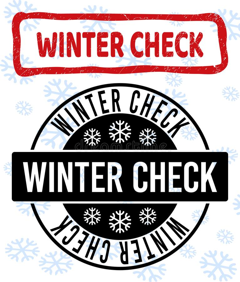 Xmas的冬天检查被抓的和干净的邮票封印 向量例证