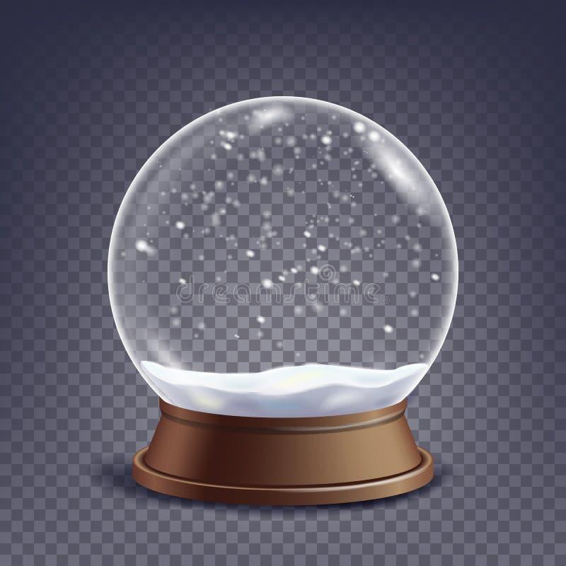 Xmas空的雪地球传染媒介 冬天圣诞节设计元素 在立场的玻璃球形 隔绝在透明 向量例证