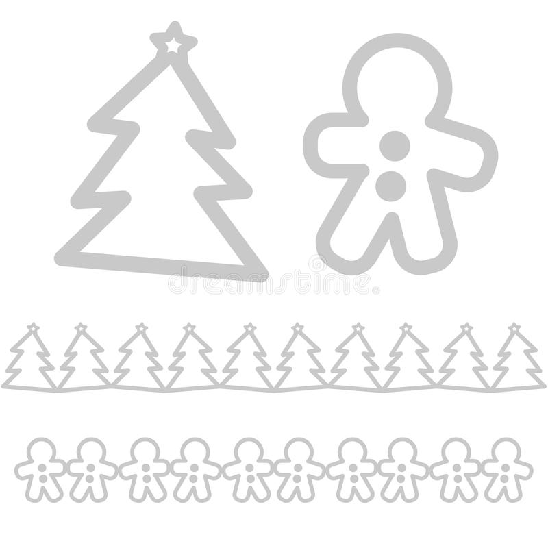Xmas象-树和姜饼人 免版税库存照片