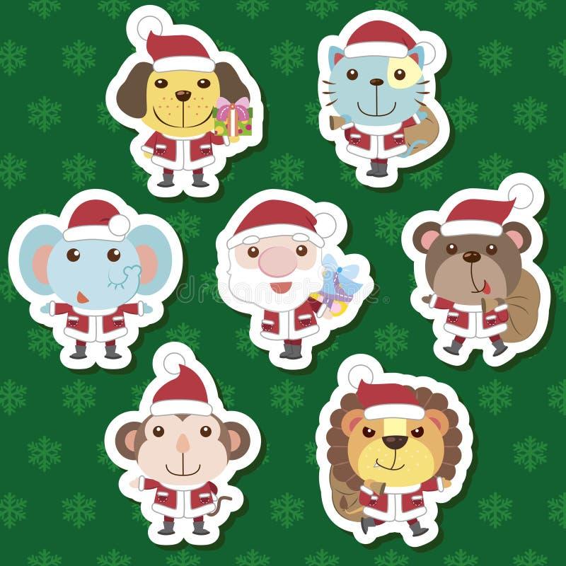 Xmas逗人喜爱的动画片动物圣诞老人集 皇族释放例证