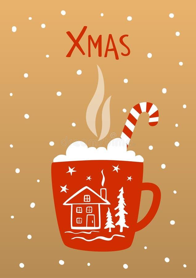 Xmas邀请greetinng与热的冬天饮料的卡片背景 库存例证