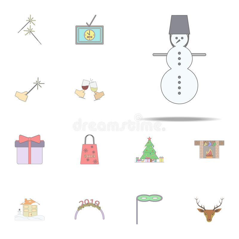 Xmas雪人色的象 网和机动性的圣诞节假日象全集 库存例证