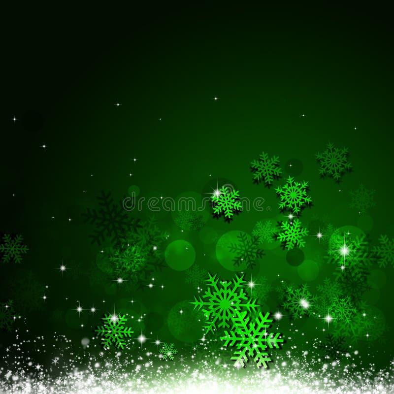 Xmas雪绿色背景 库存例证