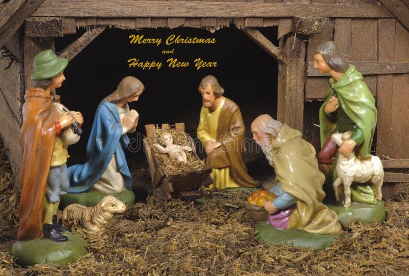 Xmas ściąga i narodzenie jezusa scena zdjęcia stock