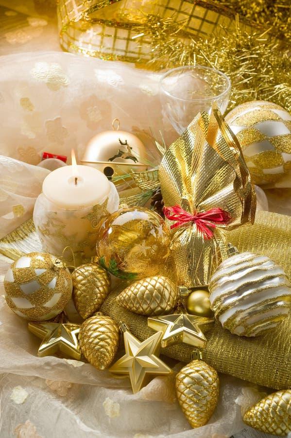 xmas золота decorationsi стоковые изображения rf
