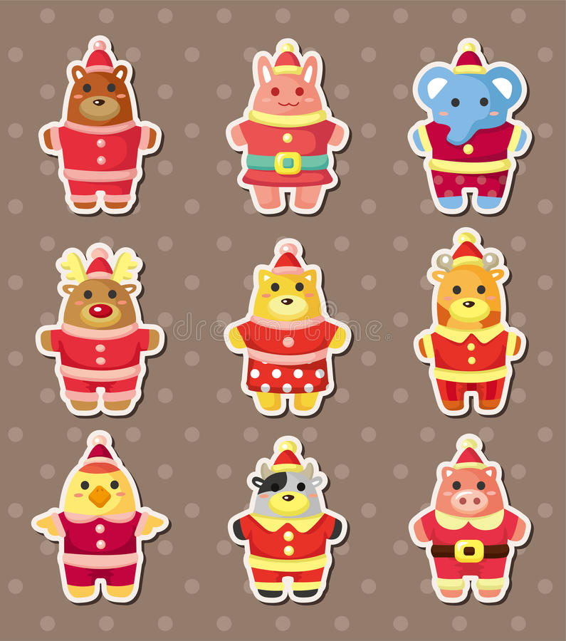 Download Xmas animal stickers stock vector. Illustration of cartoon - 26295026