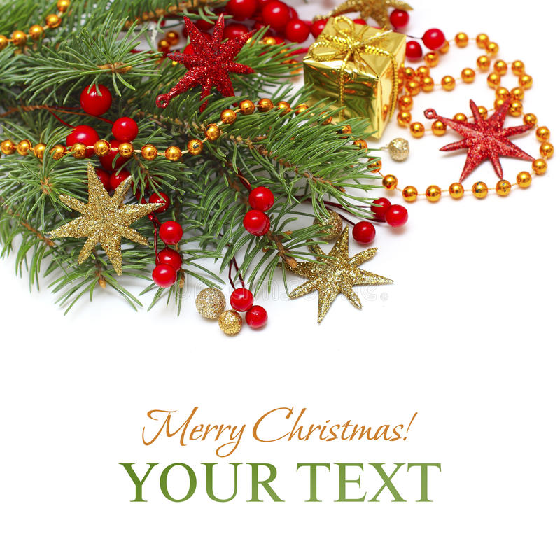 Xmas background. Christmas decoration, green branch, red stars isolated royalty free stock photos