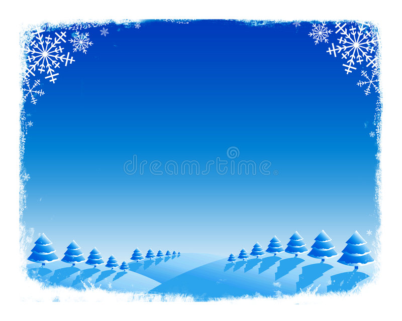 Xmas background. Abstract winter background of trees and snow