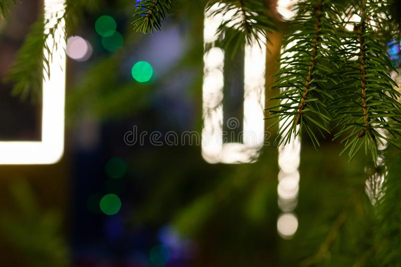 Xmas Background. Christmas decoration isolated on festival background. Happy New Year festive celebration concept. New year, Xmas decoration isolated on linen royalty free stock photos