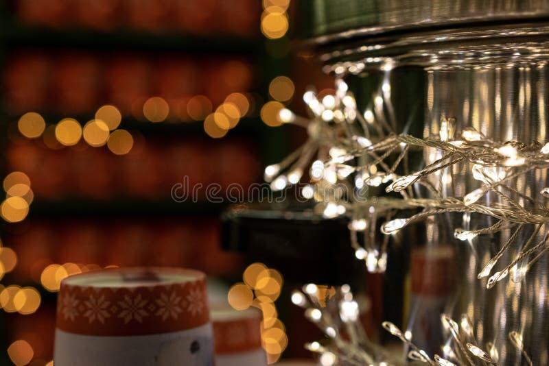 Xmas Background. Christmas decoration isolated on festival background. Happy New Year festive celebration concept. New year, Xmas decoration isolated on linen stock photography