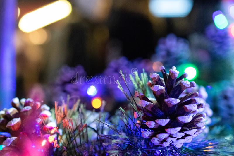 Xmas Background. Christmas decoration isolated on festival background. Happy New Year festive celebration concept. New year, Xmas decoration isolated on linen royalty free stock photo