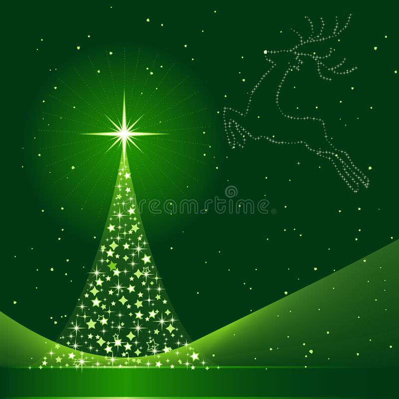 Download Xmas Background With Christmas Tree And Reindeer Stock Vector - Image: 11037040