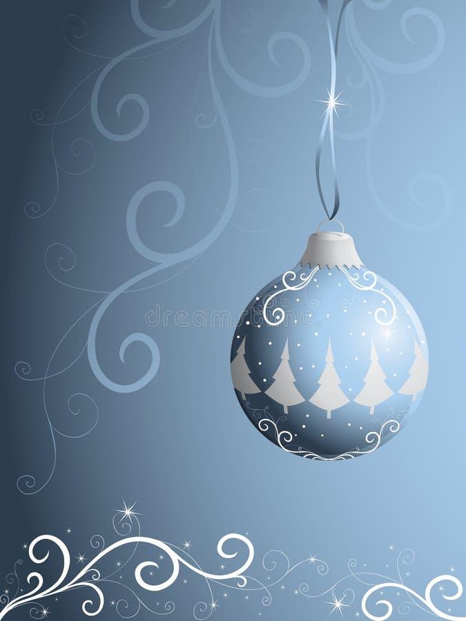 Xmas ball on blue background. Ornate xmas ball on blue background stock illustration