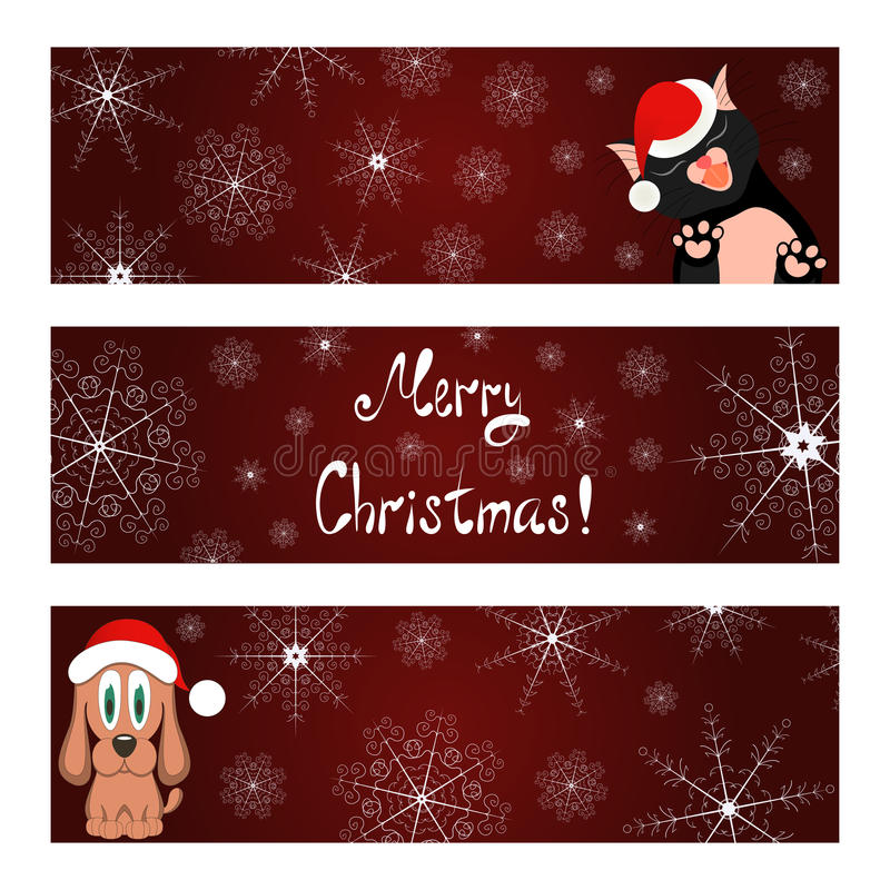 Xmas banners set with cat and dog wish you a Merry vector illustration