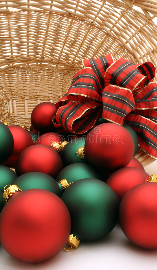 Download Xmas baubles in basket stock image. Image of yuletide - 1530621