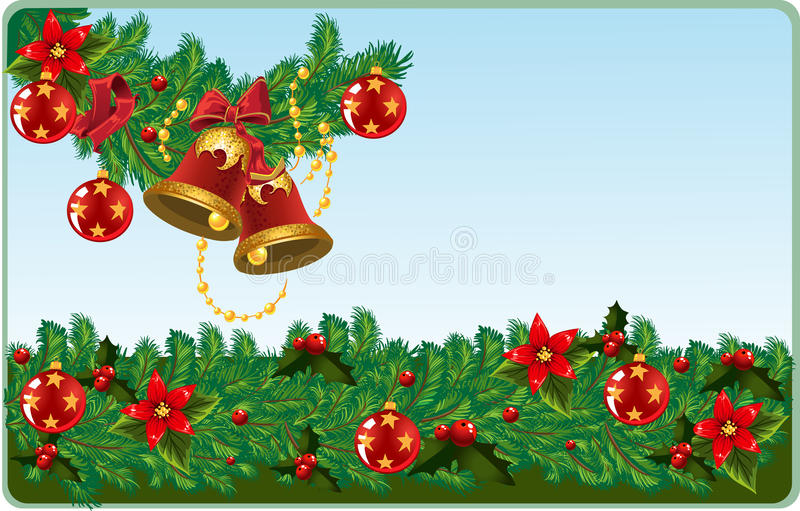 Xmas bells on the post card royalty free stock photos