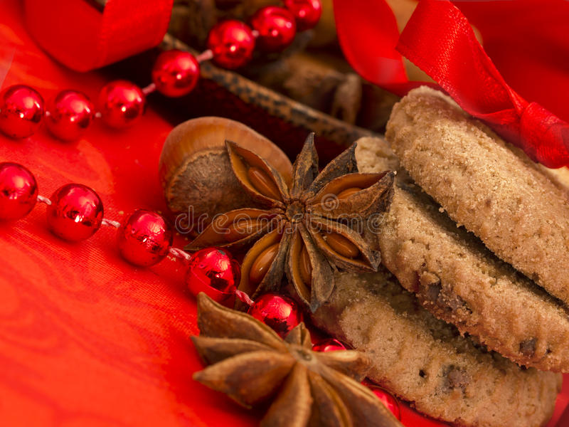 Xmas biscuits with red decoration royalty free stock images