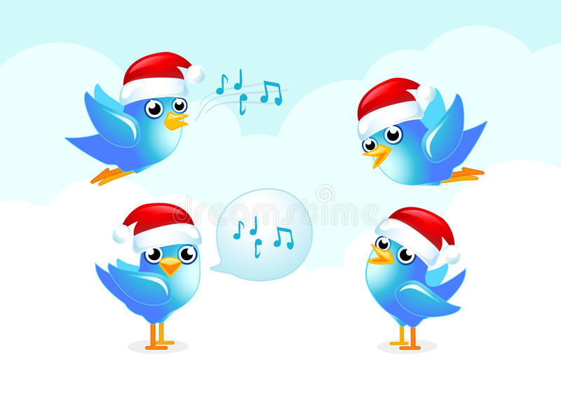 Xmas Blue birds royalty free illustration