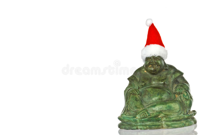 Xmas Buddha. Lucky Xmas Buddha, for Christmas and NewYear royalty free stock images