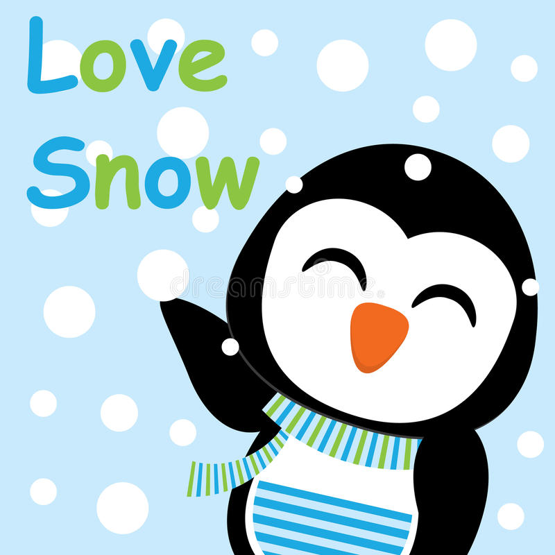 Xmas Card With Cute Penguin Vector Cartoon Love Snow Letter Postcard Wallpaper And Greeting Illustration