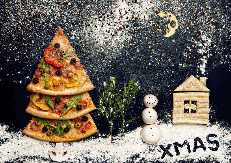 Xmas card. Naturmort. Christmas card with pizza tree and snowman, Xmas card. Naturmort royalty free stock photo